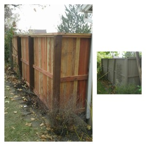 Wood Fence with Cap Repair (After & Before)