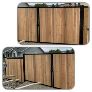 Cedar Boards On Black Steel Fence And Gates In Gardnerville/Carson Valley